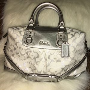 COACH ASHLEY LARGE Silver/White Signature Satchel